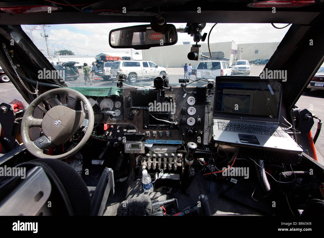 the interior cockpit of sean casey 39 s tornado intercept vehicle an stock photo royalty free. Black Bedroom Furniture Sets. Home Design Ideas