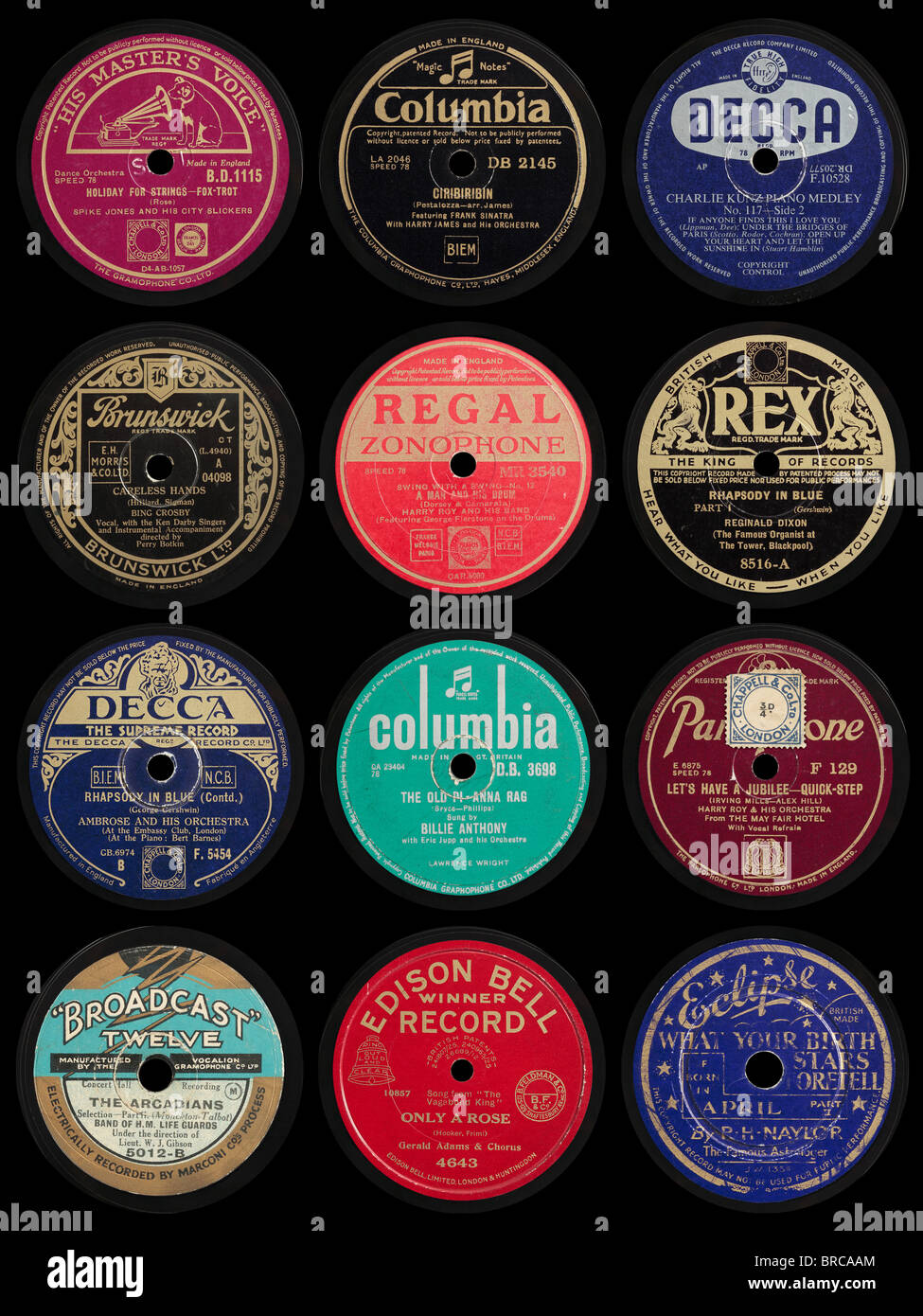 78 Images About Temperance On Pinterest: Old 78 Rpm Gramophone Record Labels Stock Photo, Royalty