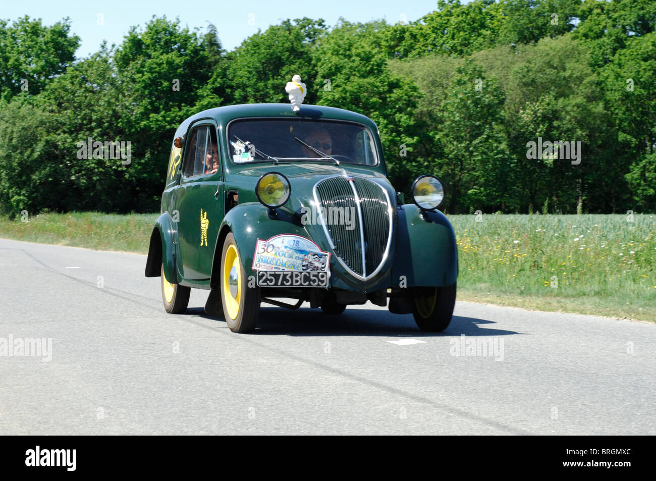 simca 5 fourgonnette 1948 in the tour de bretagne classic car rally stock photo royalty free. Black Bedroom Furniture Sets. Home Design Ideas