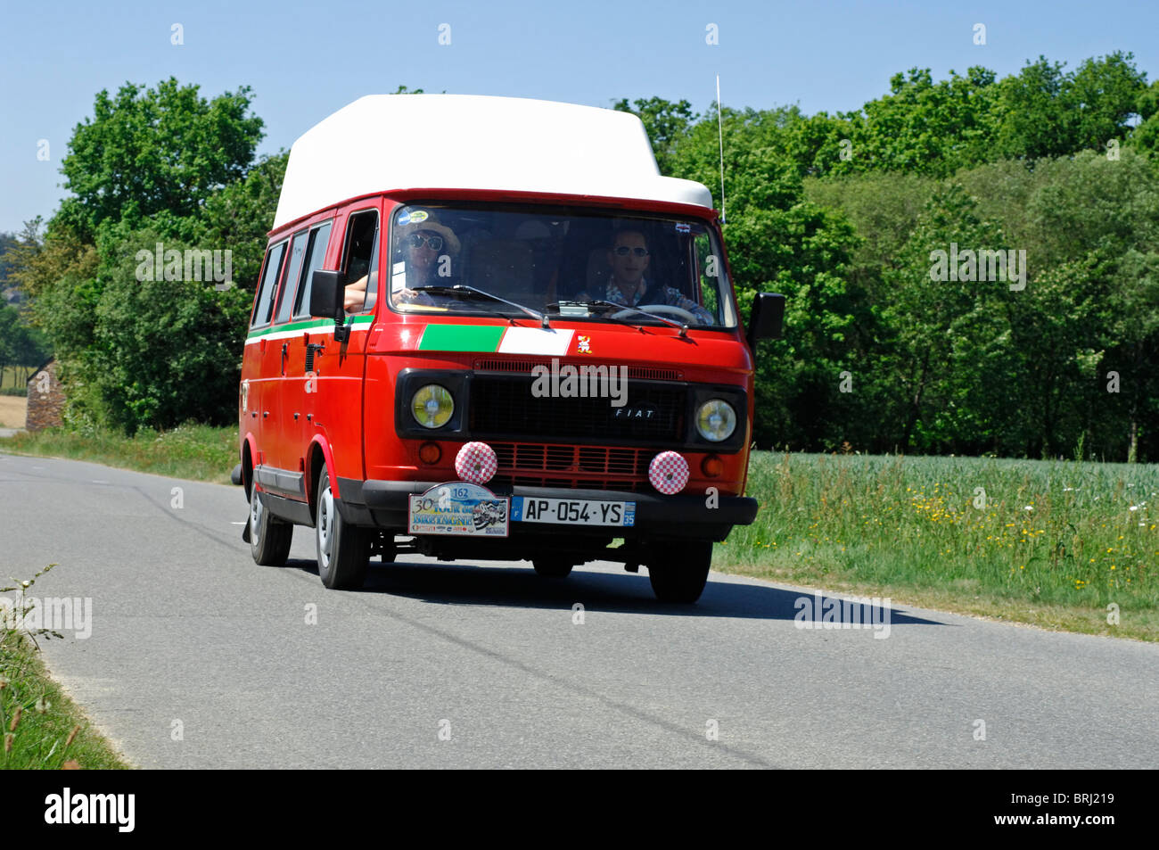 fiat 238 camping car 1982 in the tour de bretagne classic car rally stock photo royalty free. Black Bedroom Furniture Sets. Home Design Ideas