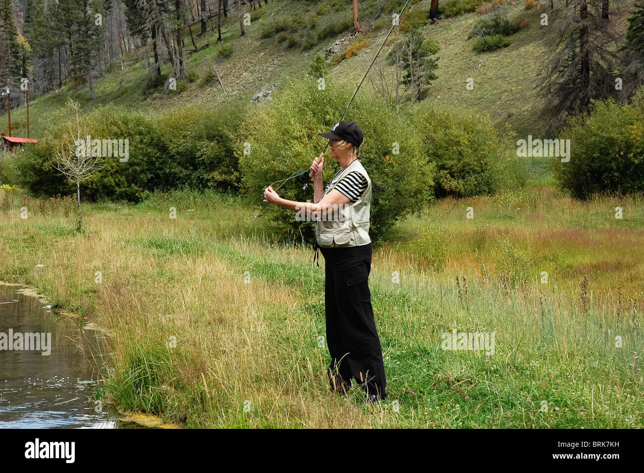 Fly fishing at cow creek ranch pecos nm stock photo for Pecos new mexico fishing