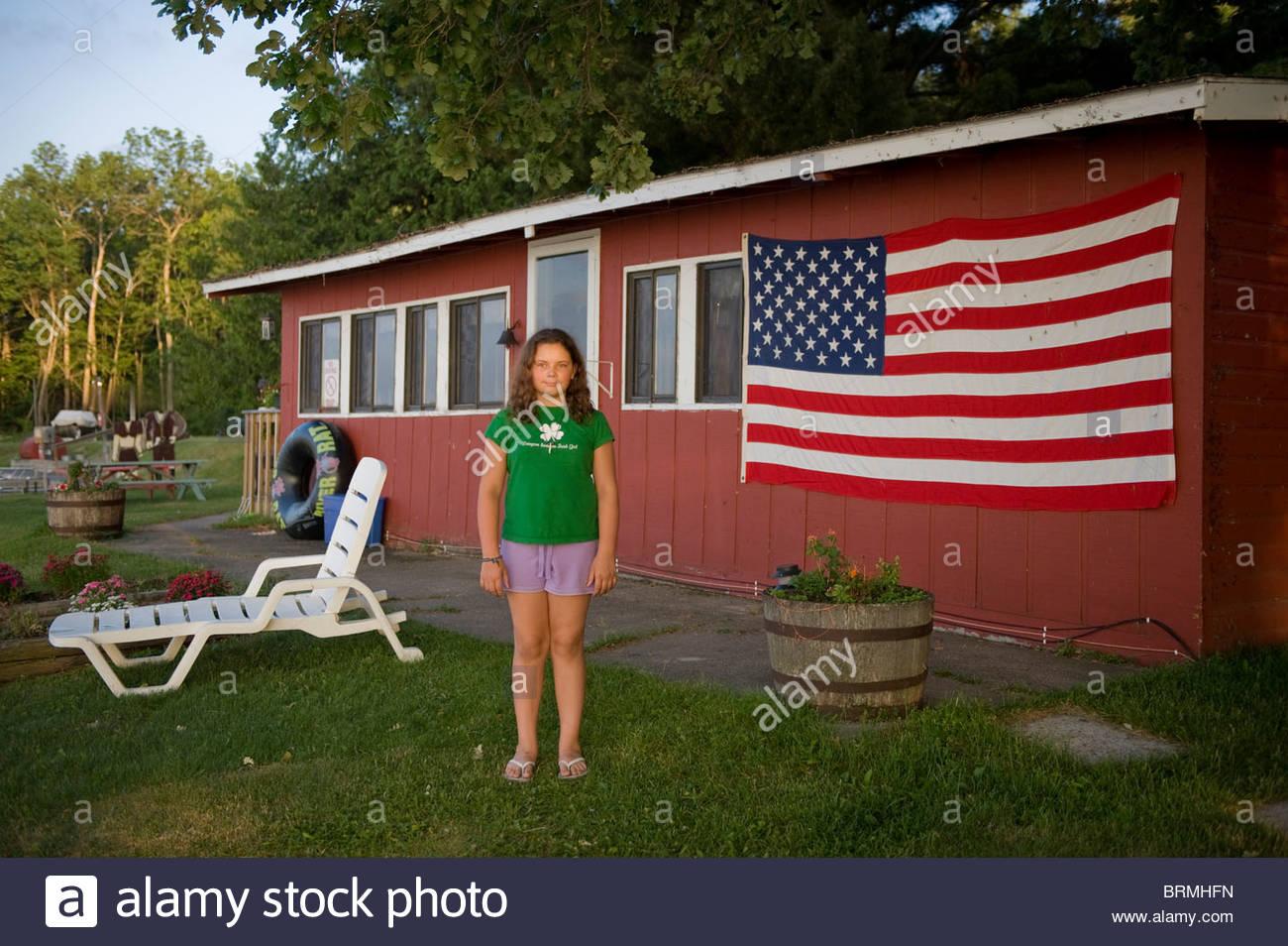 A girl vacations in Leech Lake, Minnesota Stock Foto