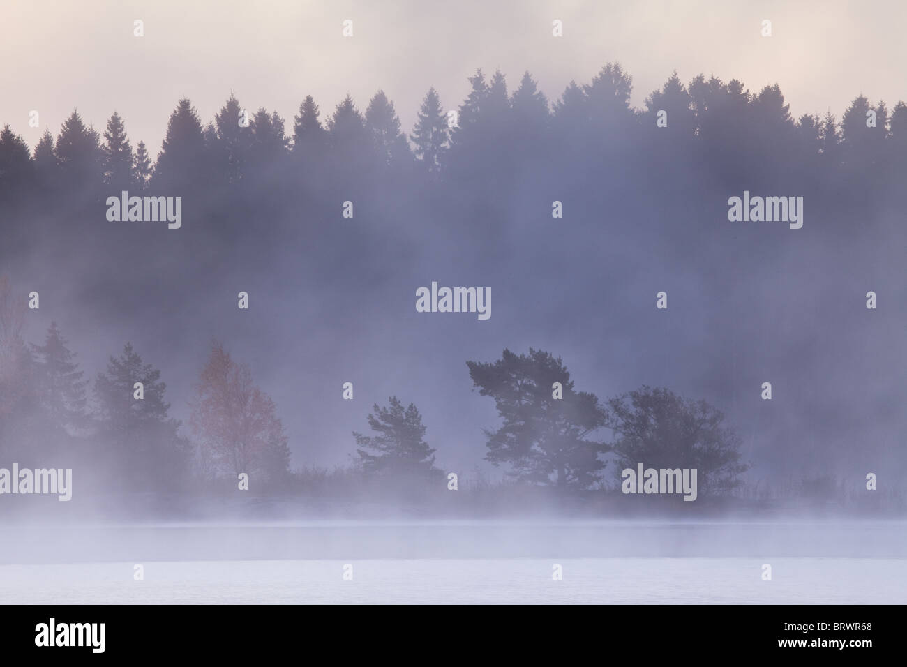 Early morning mist after a frosty night in the lake Vansjø, Østfold fylke, Norway. Stock Foto