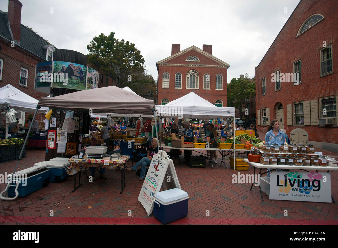 Open air market with tents in front of Town Hall, Salem ...