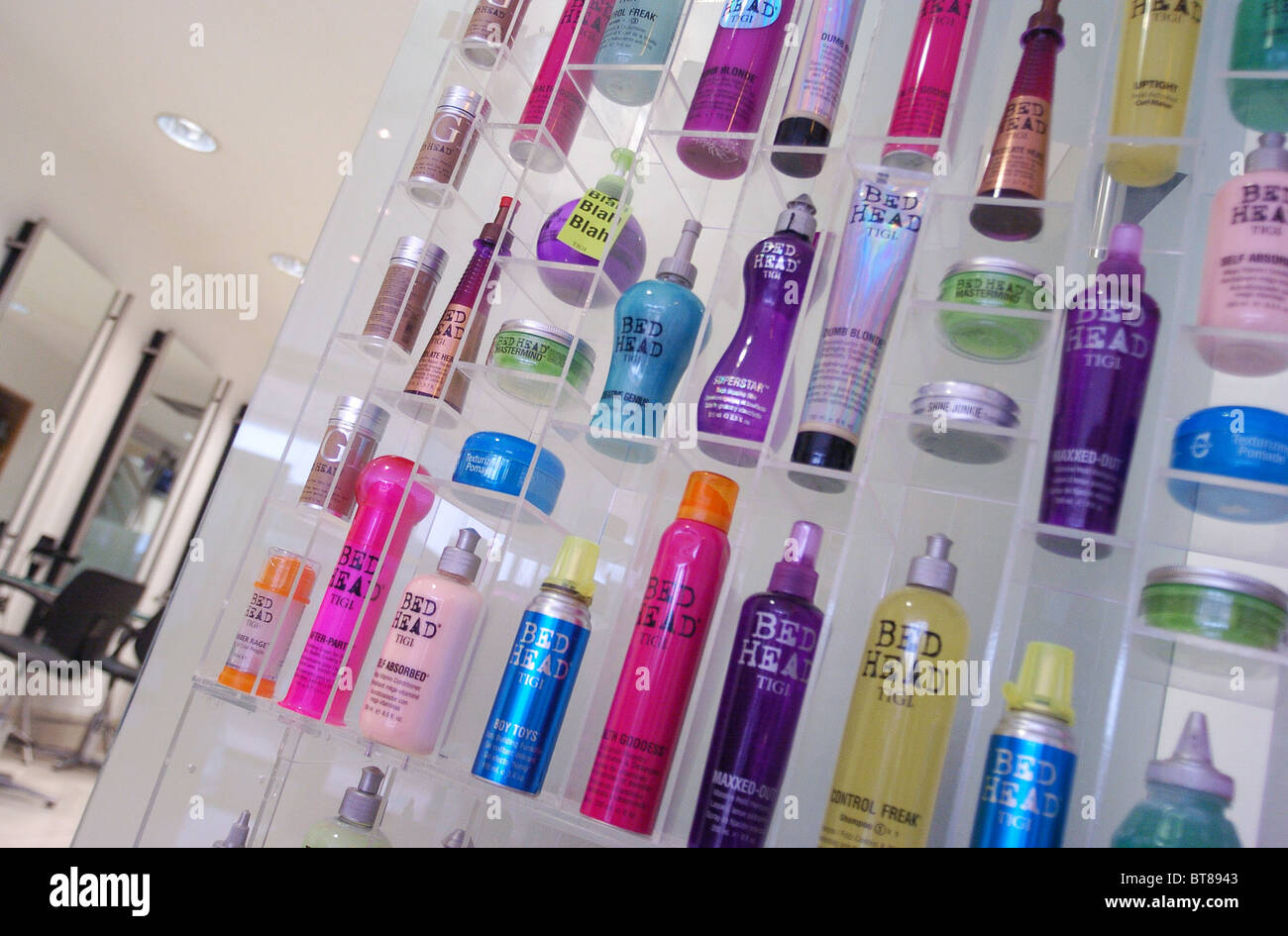 Hair Products On Display In A Hairdressers Salon Stock