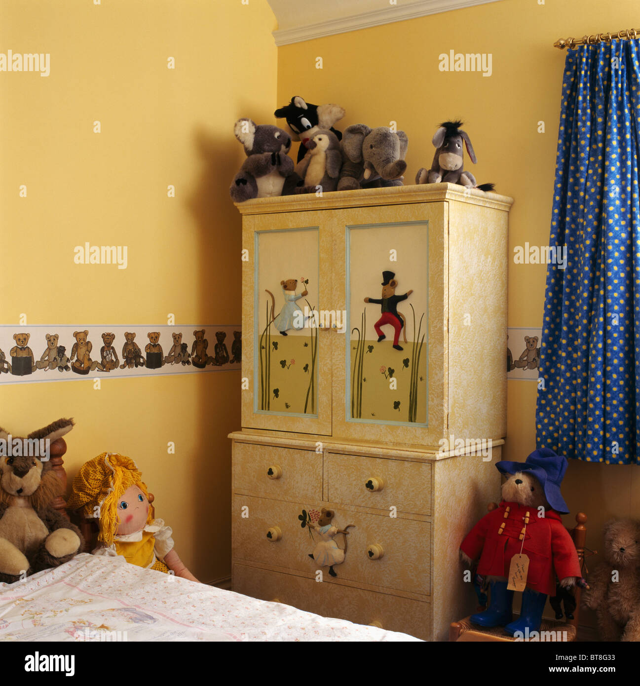 Trompe L Oeil Painted Cupboard In Child S Yellow Bedroom