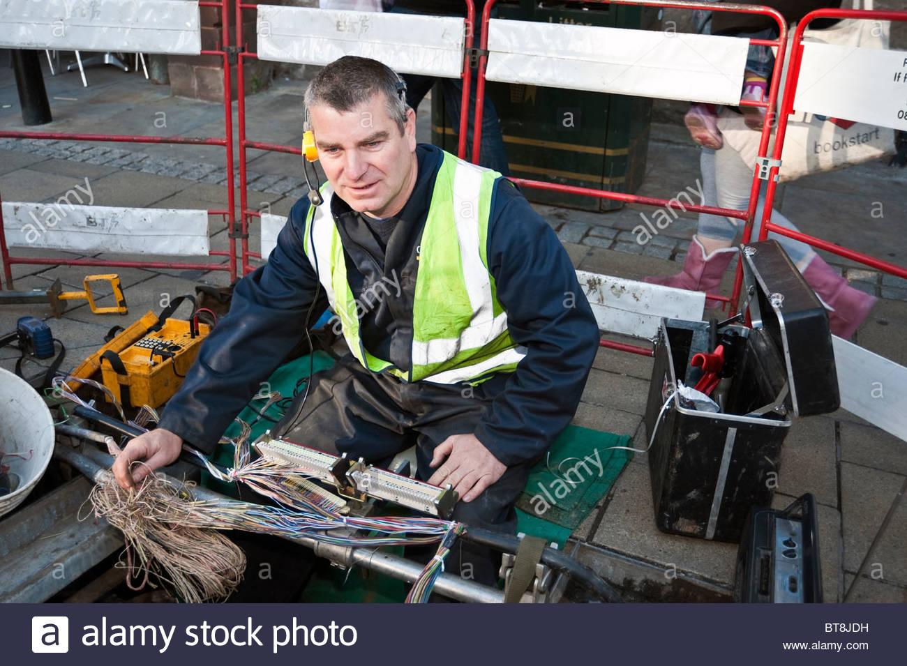 Bt Jointer At Work Repairing Network Bt Telephone