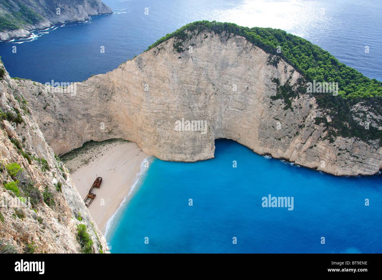 Navagio beach in zakynthos island greece