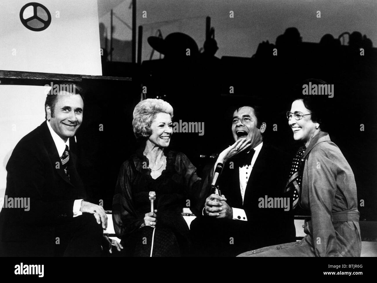 Oral Roberts (far left), Jerry Lewis (second from right), Evelyn Roberts (far right), on the television special Stock Photo