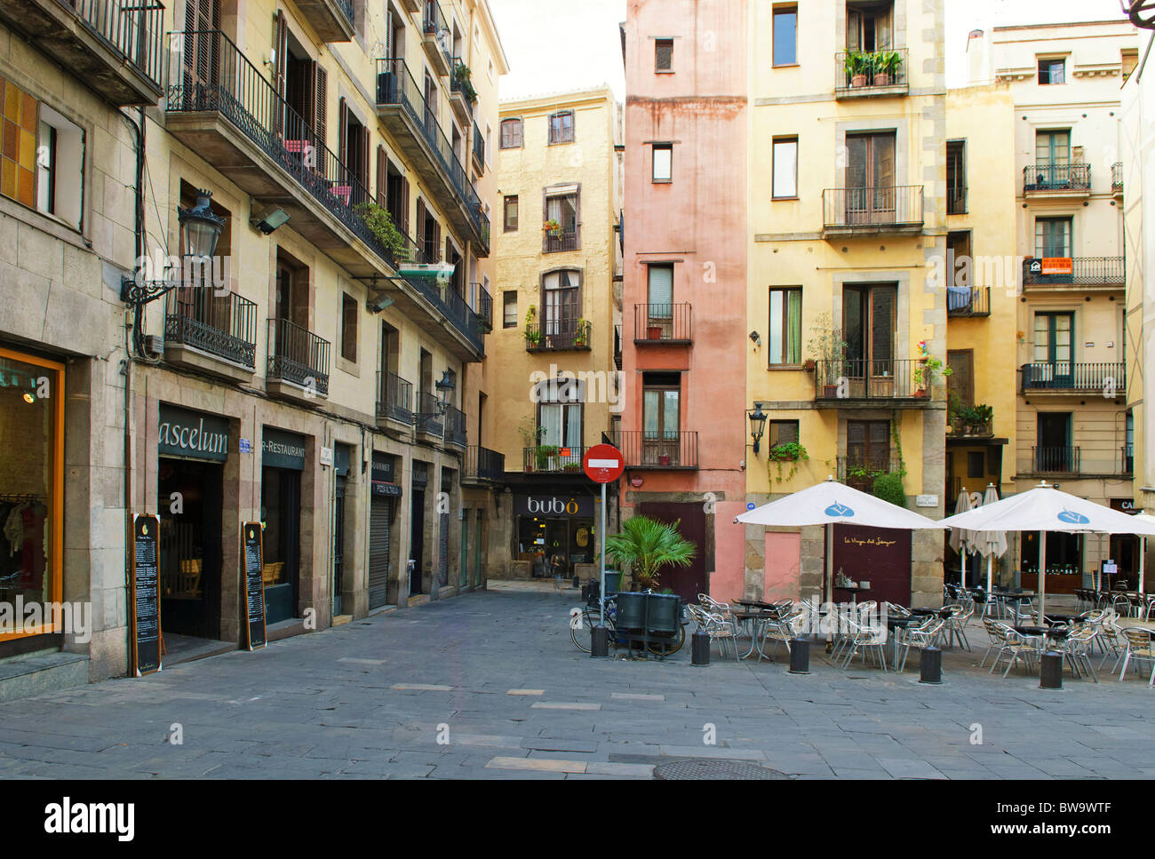 Plaza De Santa Maria Del Mar In Barcelona, Spain Stock Photo, Royalty Free Im...
