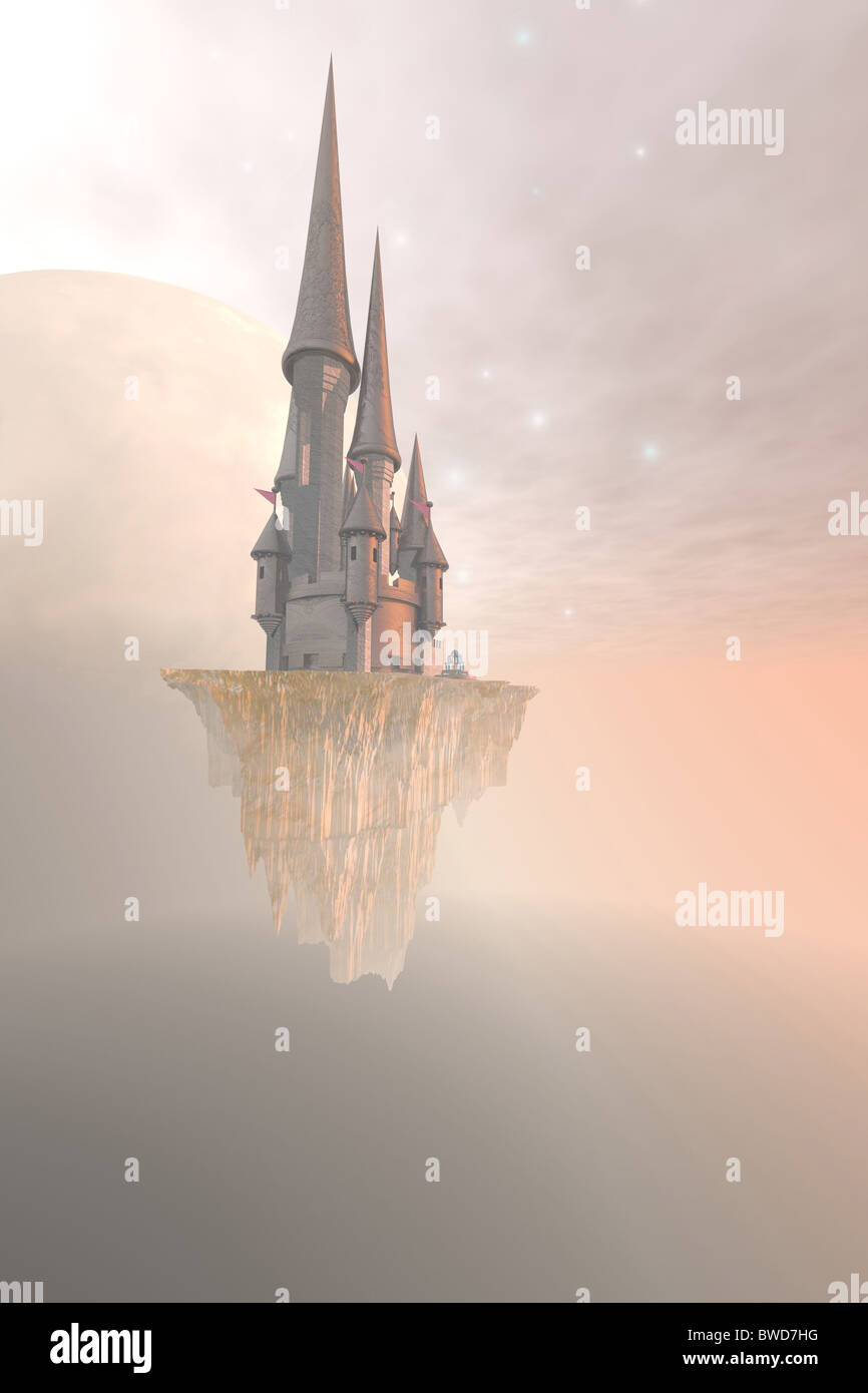 Fantasy image of a castle up in the mist and clouds. Stock Foto