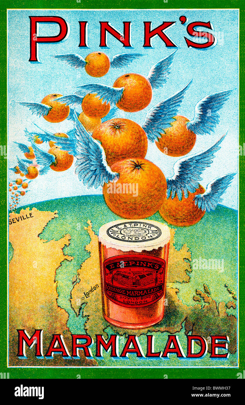 Pinks Marmalade, 1890 advert for the largest makers in the world shows oranges flying over from Seville to London Stock Foto