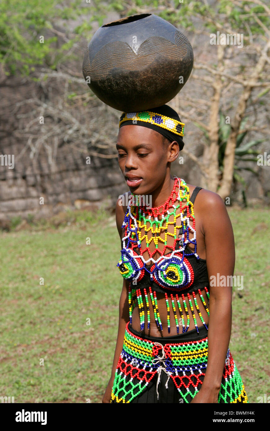 Traditional Beaded dressed of a Zulu young adult African
