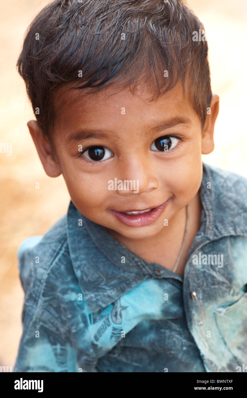Smiling happy Indian village boy. Andhra Pradesh, India. Selective focus Stock Photo