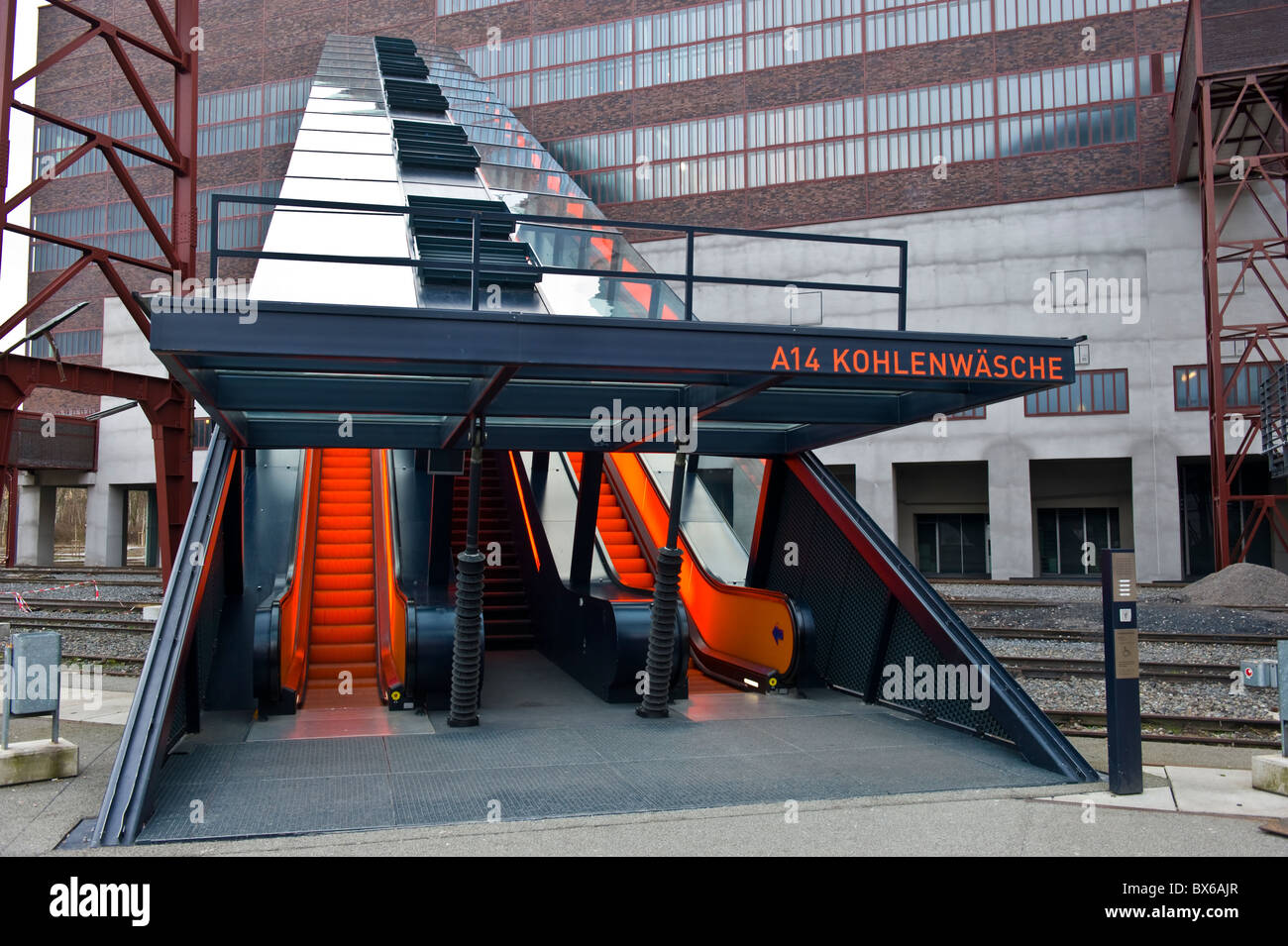 stairs to the visitor area of the ruhr museum zeche zollverein world stock photo royalty free. Black Bedroom Furniture Sets. Home Design Ideas