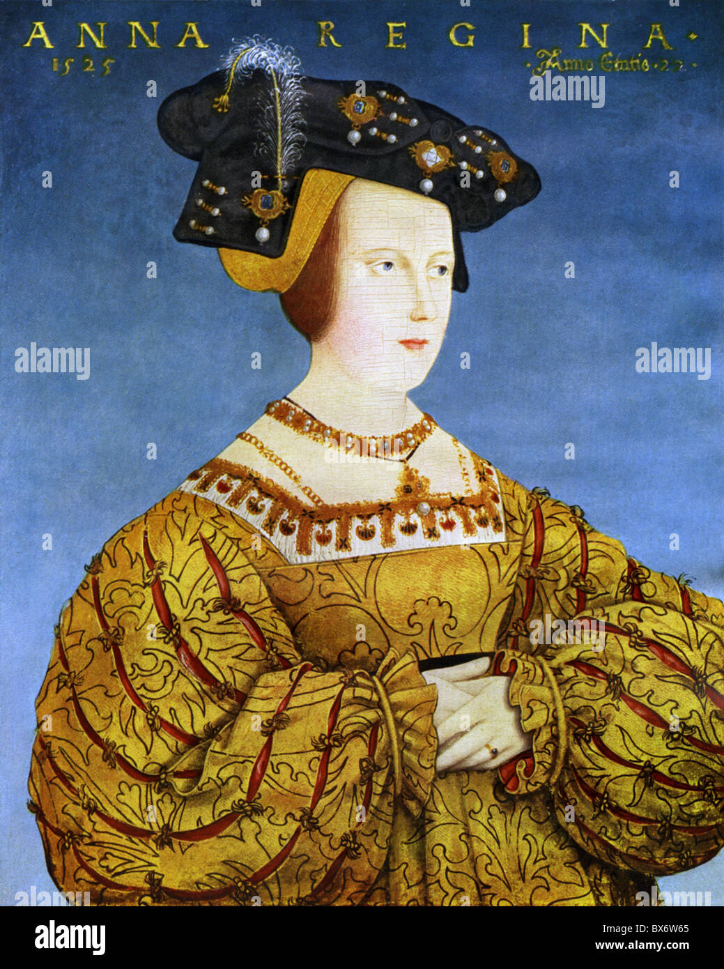 Anna, 23.7.1503 - 27.1.1547, Queen of the Romans 5.1.1531 - 27.1.1547, portrait, print after painting by Hans Maler, Stock Foto
