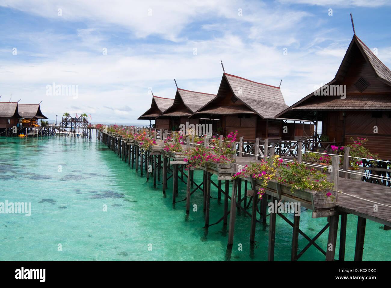 Water bungalows sipadan kapalai dive holiday resort ligitan stock photo royalty free image - Kapalai sipadan dive resort ...