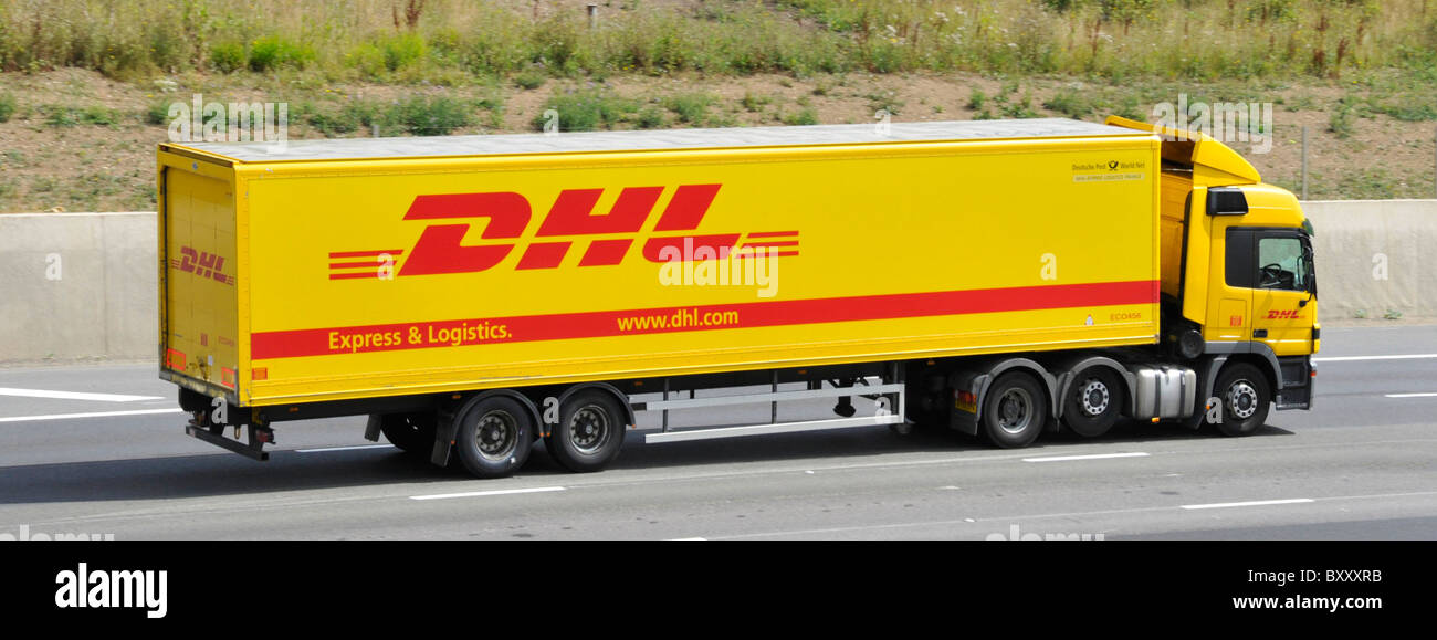dhl articulated lorry on motorway stock photo 33783215 dhl express logistics dhl express login telephone number melbourne