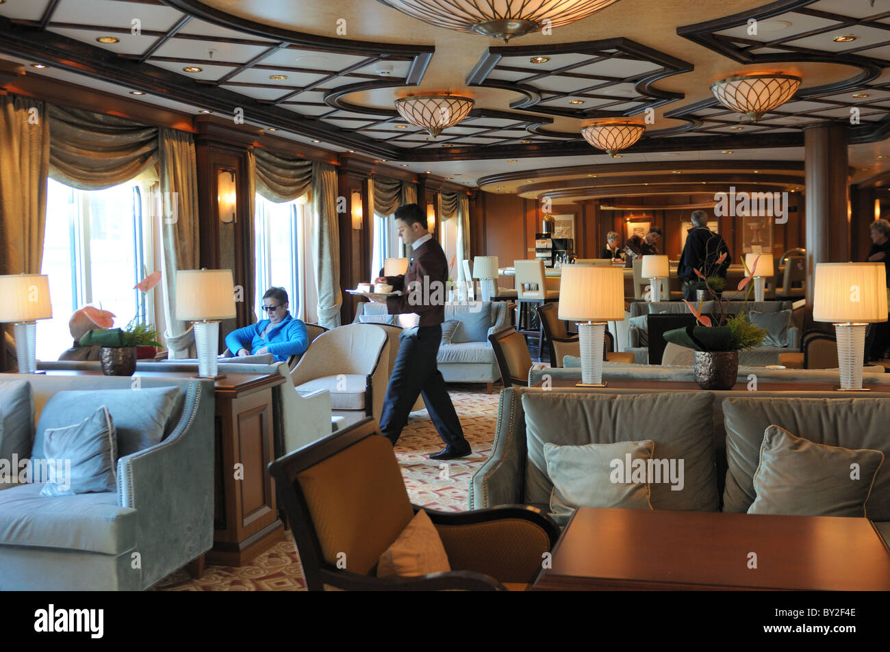 Cafe Carinthia Is A Lounge Aboard Cunard 39 S Newest Ship Queen Stock Photo Royalty Free Image