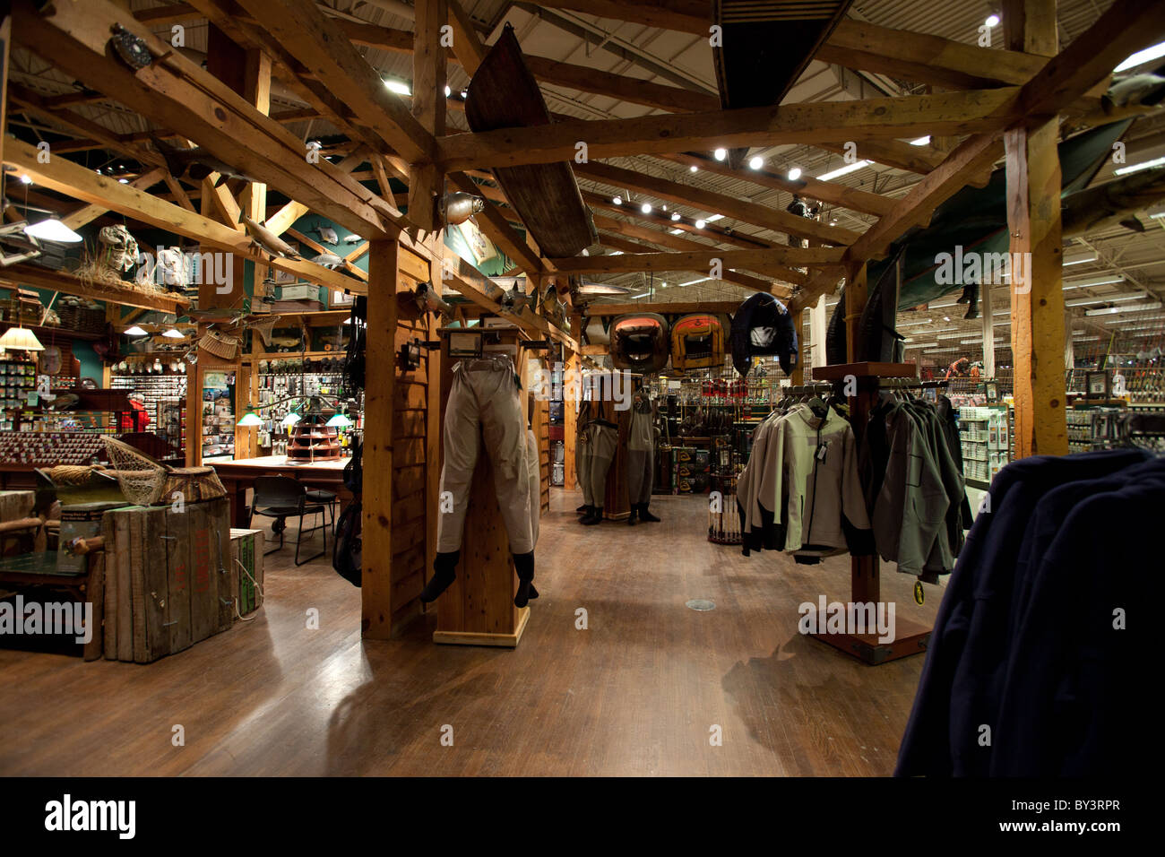 hunting gear in outdoor world retail store in vaughan mills mall in stock photo royalty free. Black Bedroom Furniture Sets. Home Design Ideas
