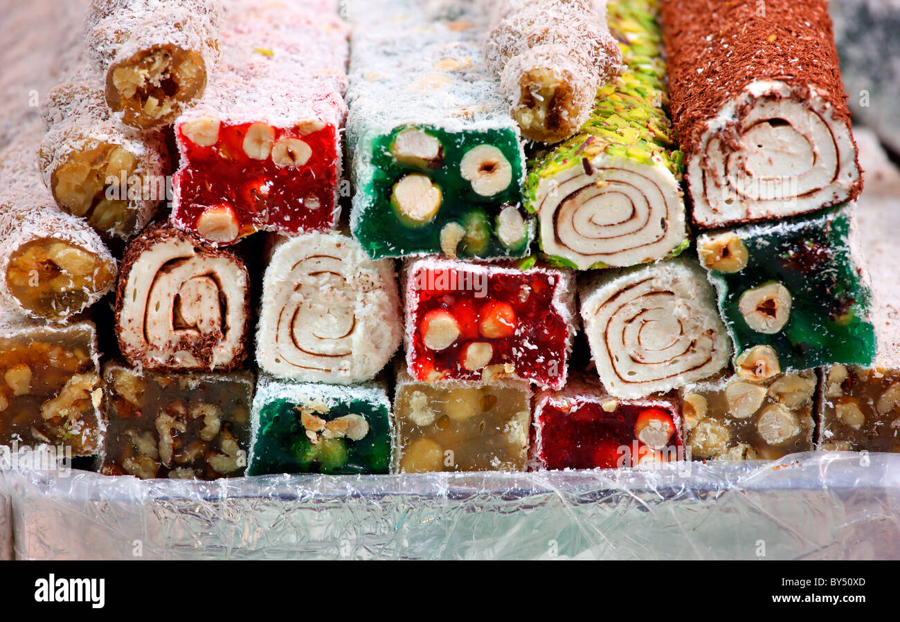 "Oriental sweets in the Misir Carsi (means ""Egyptian Market""), the spice bazaar of Istanbul, Turkey Stock Photo"