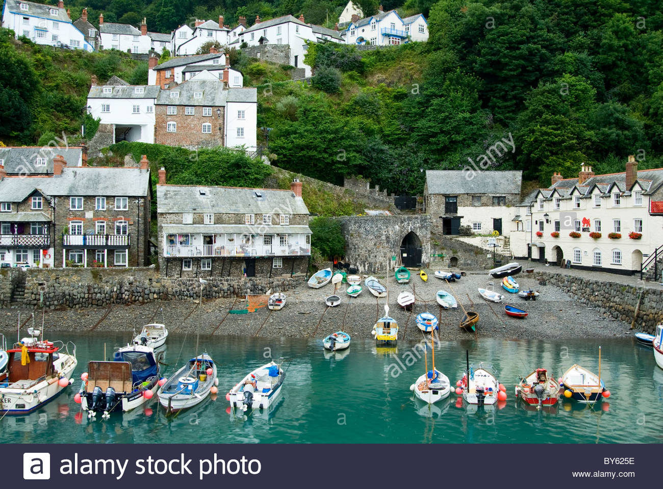 Sheltered harbour at Clovelly. Clovelly Court, Bideford, Devon, UK Stock Photo