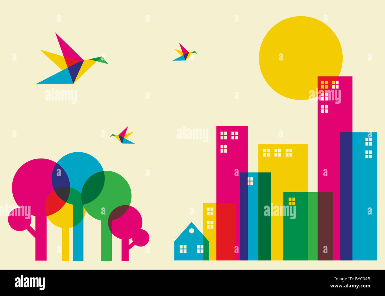 Spring time in the city. Full color humming birds flying over the forest and city. Vector file available. Stock Foto