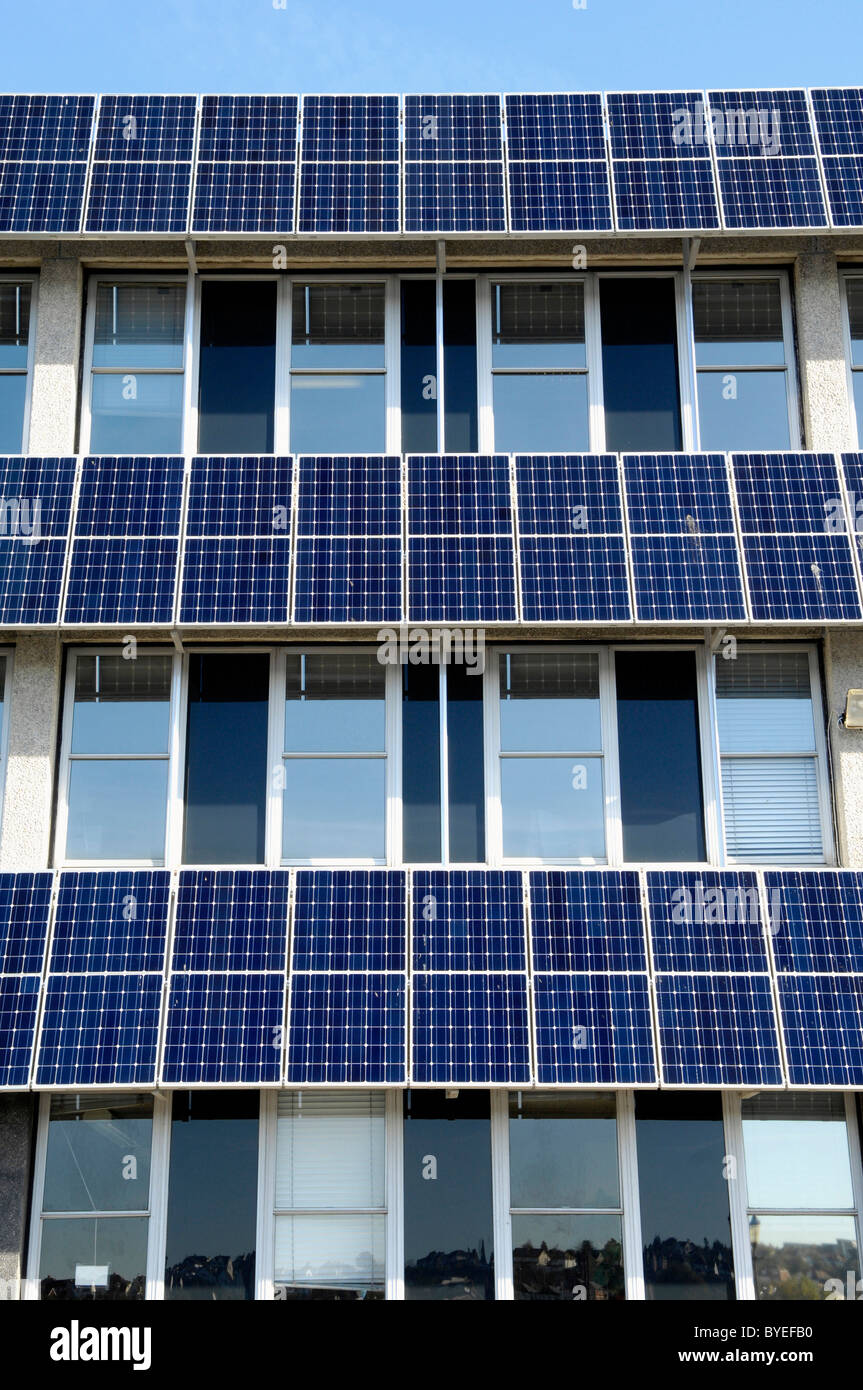 Solar Panel On Side Of Building : Rows of photovoltaic solar panels on the side a council