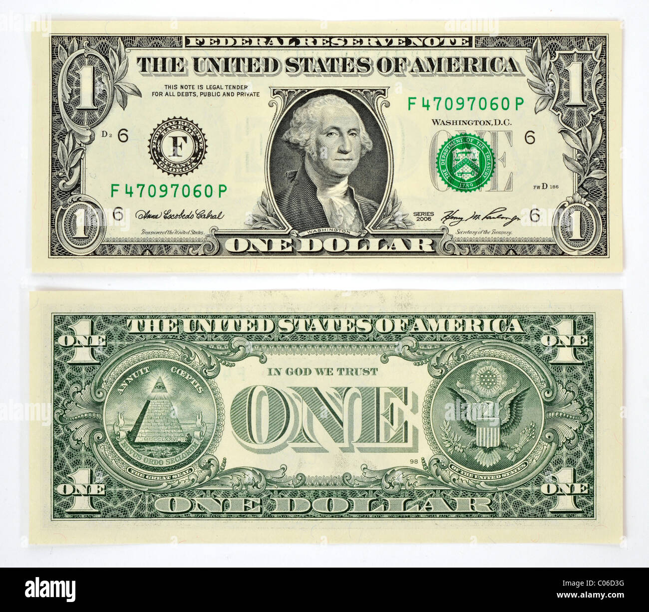 1 u s dollar banknote front and back stock photo royalty free image 34562740 alamy. Black Bedroom Furniture Sets. Home Design Ideas