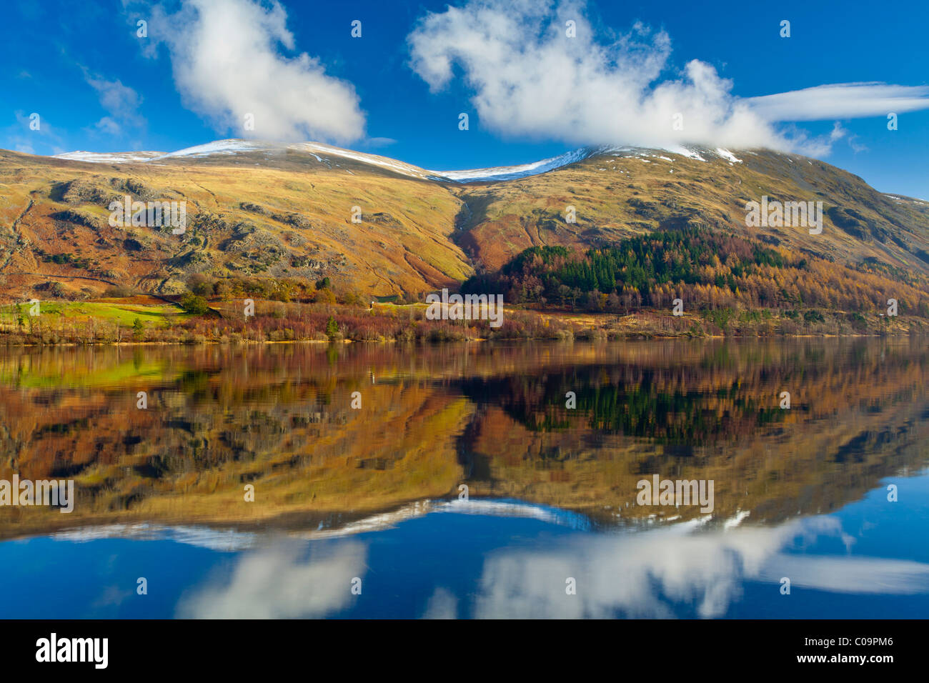 England, Cumbria, Lake District National Park. Lakeland hills reflected upon the still face of the Thirlmere Reservoir Stock Photo