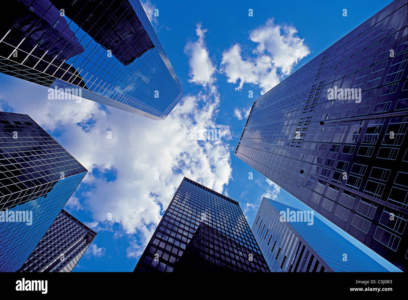 Looking Up Between Modern Skyscrapers In Lower Manhattan