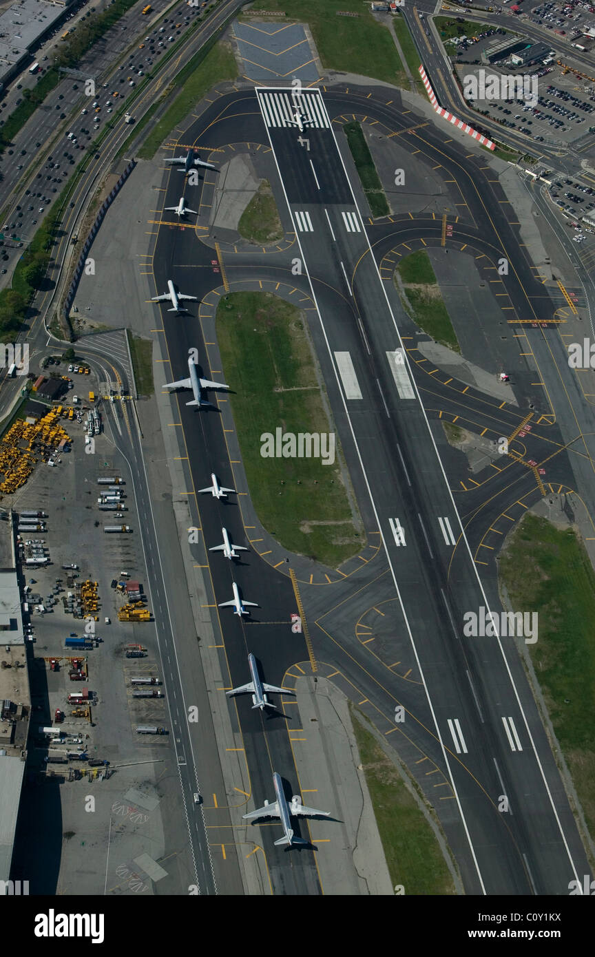 aerial view above departing aircraft runway 4 LaGuardia airport Queens New York Stock Photo