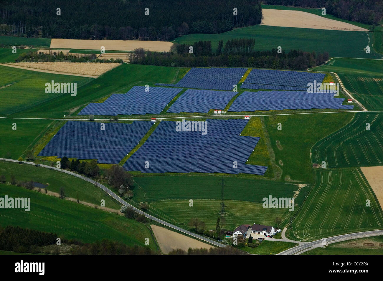 aerial view above solar energy farm Bavaria Germany Stock Photo
