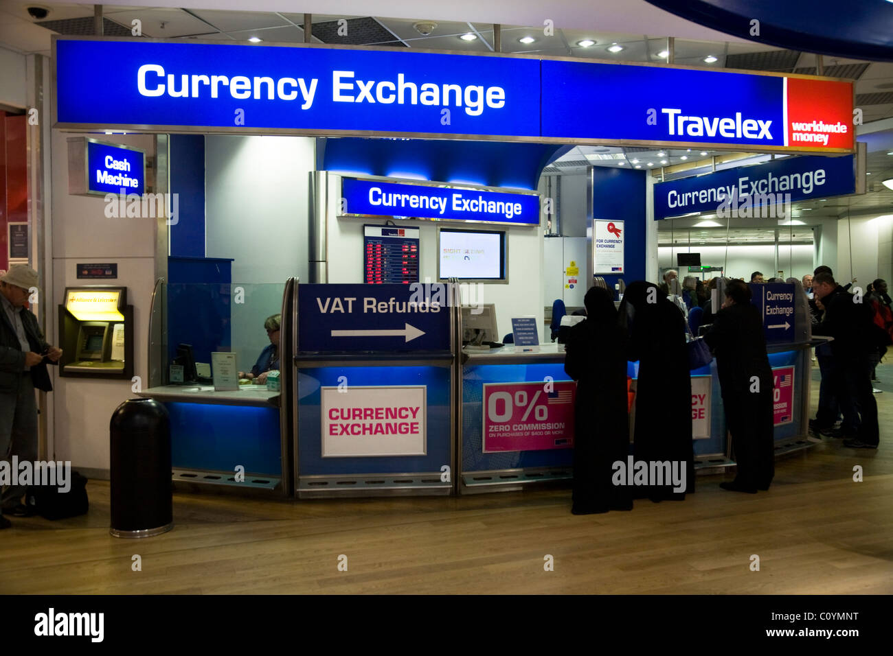 bureau de change office operated by travelex at heathrow airport stock photo royalty free image. Black Bedroom Furniture Sets. Home Design Ideas