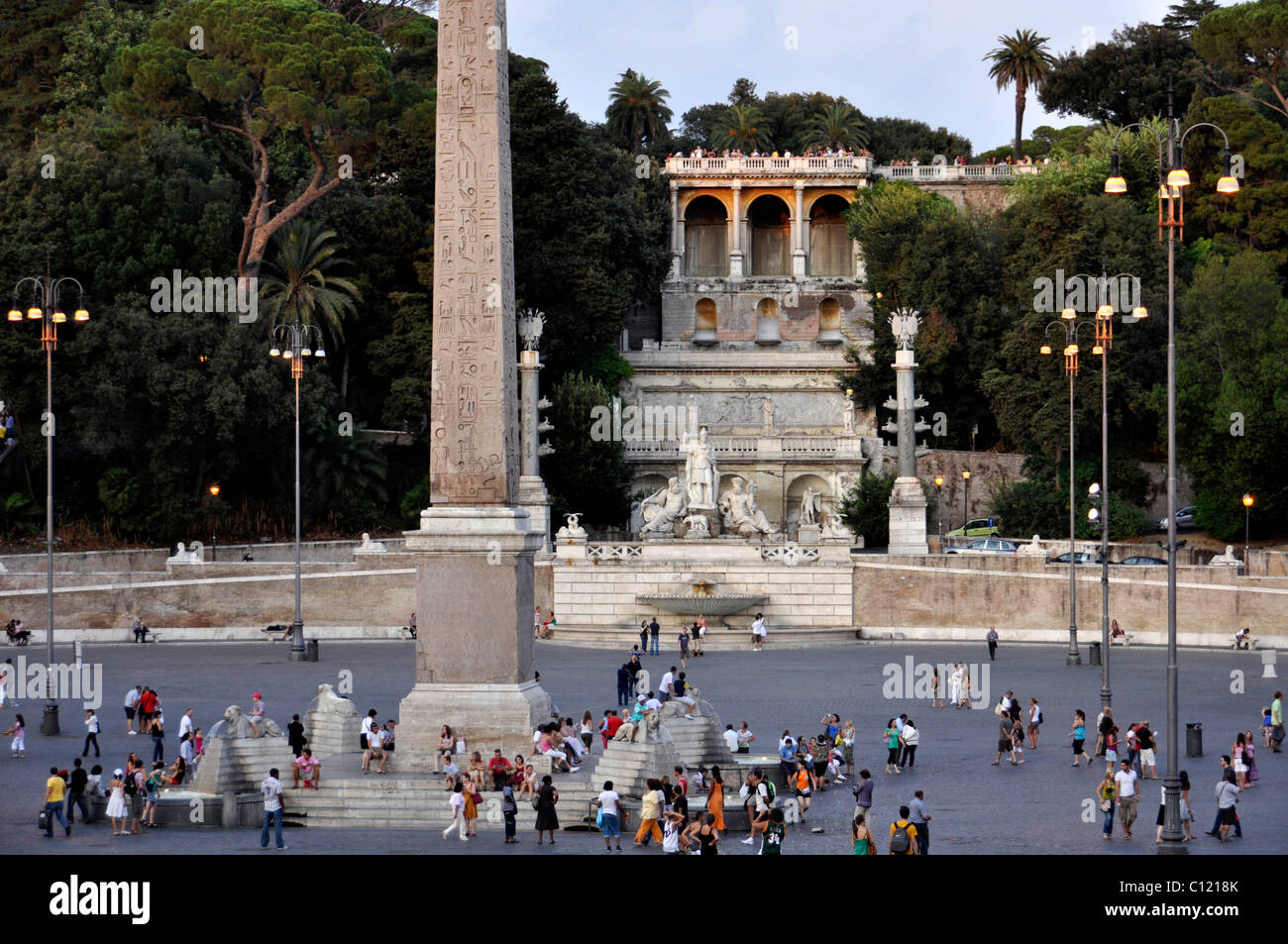 Obelisk pincio terrace group of statues goddess roma for The terrace group