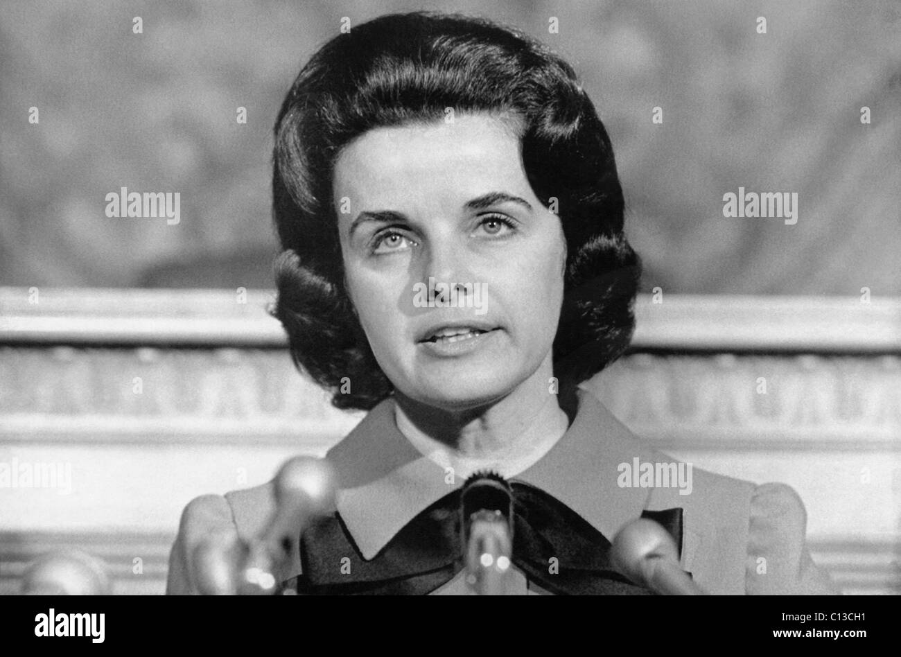 Dianne Feinstein, head of the San Francisco Board of Supervisors, announcing that she would run for mayor against Stock Photo