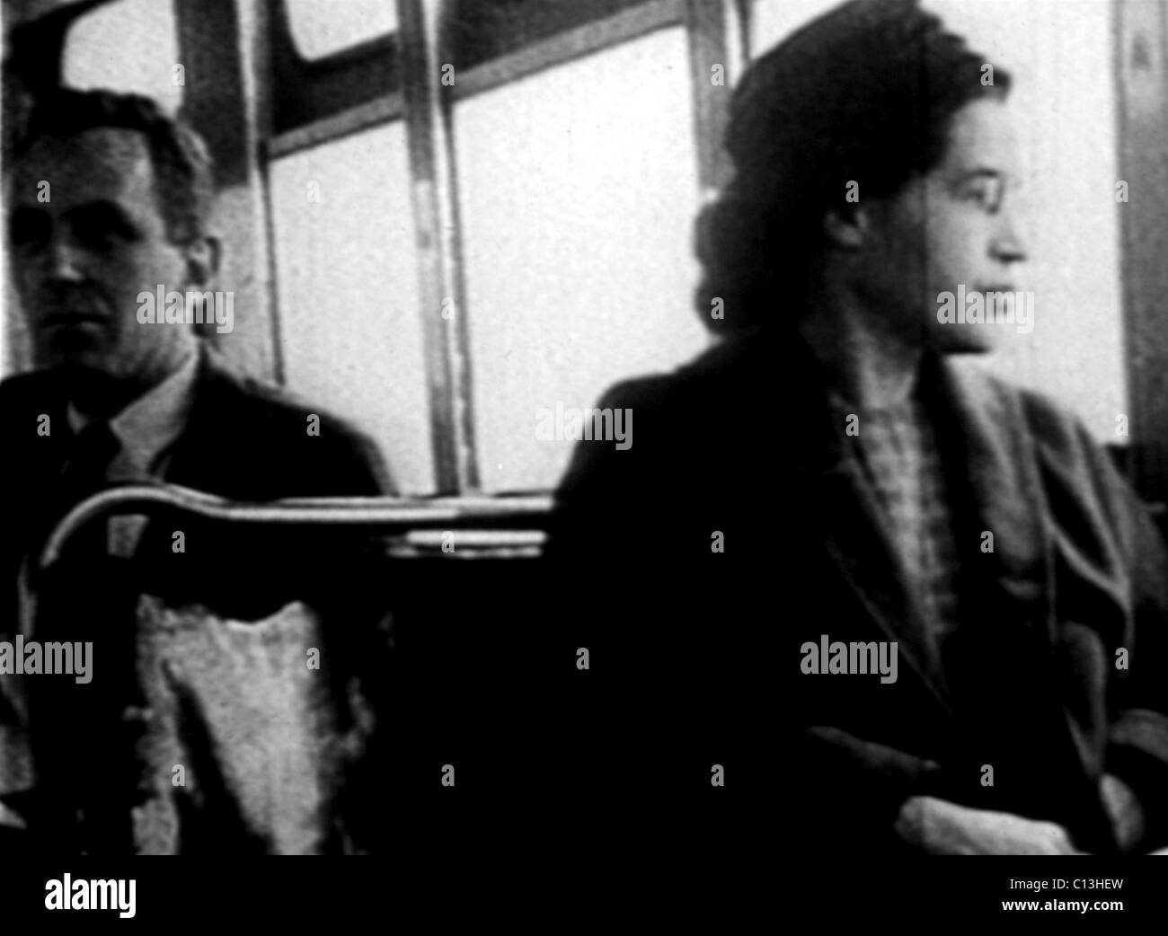 Rosa Parks, on the bus, 1955 Stock Foto