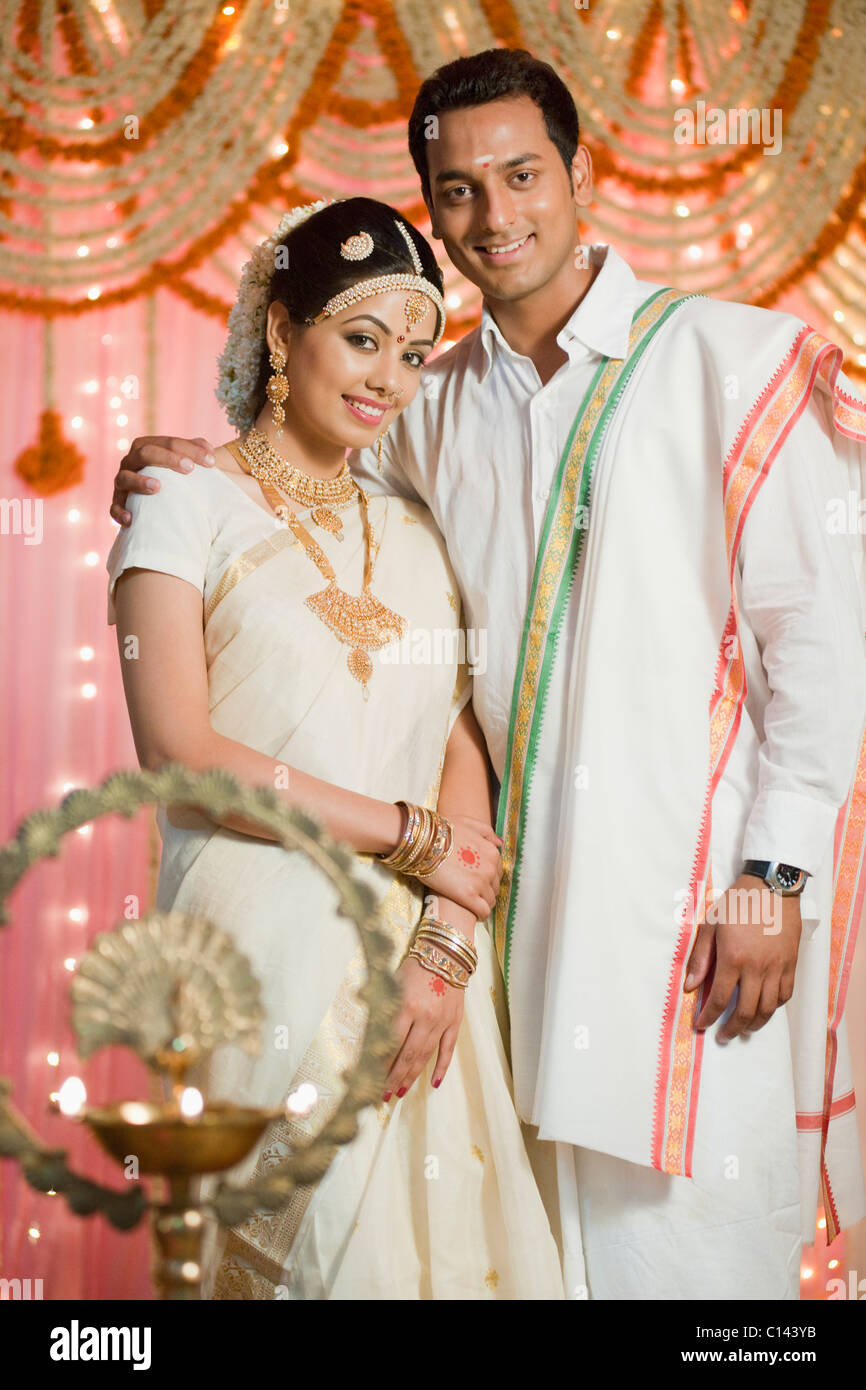 Portrait Of A Newlywed Couple In Traditional South Indian Dress Stock Photo Royalty Free Image