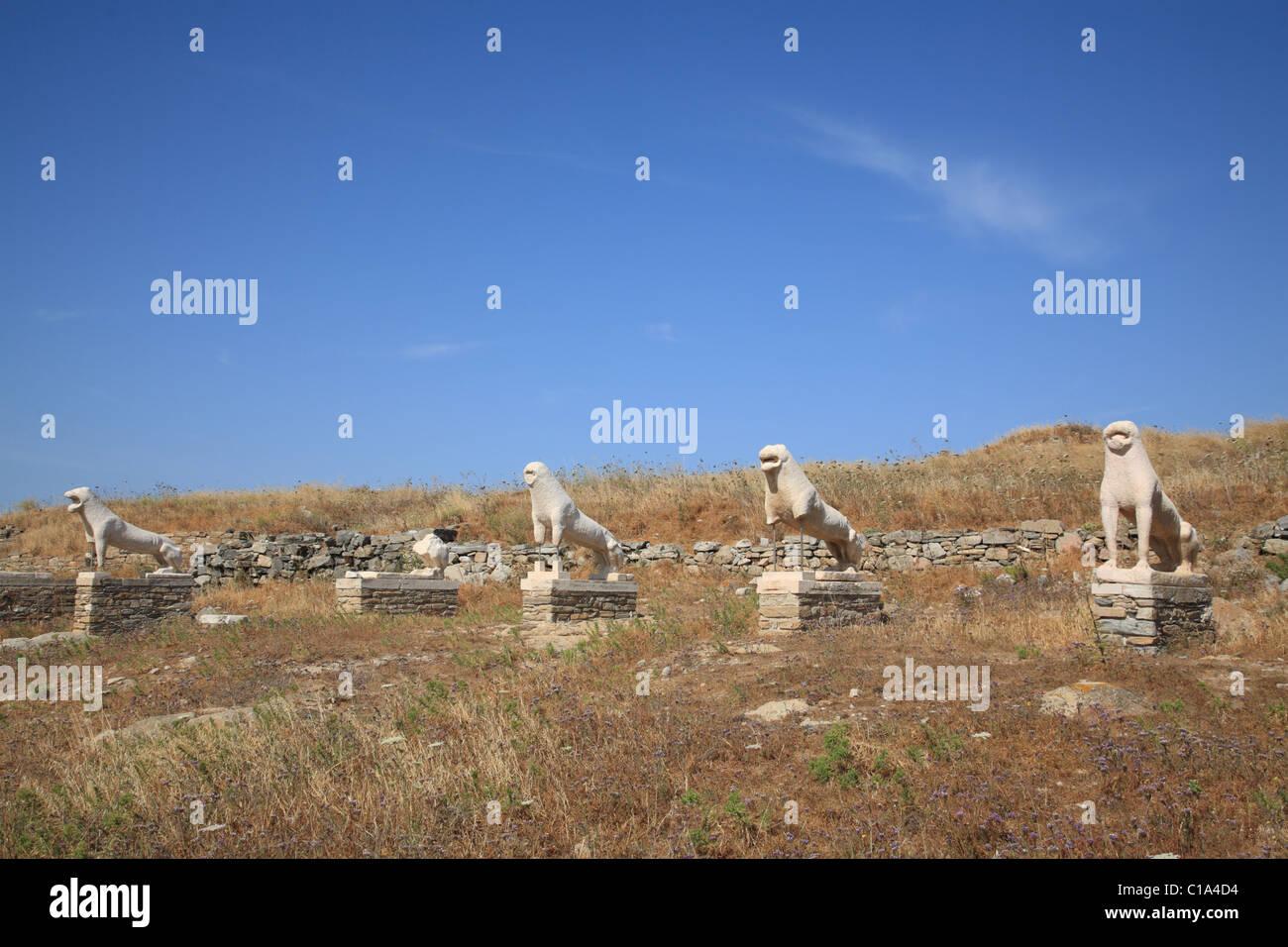 Naxian Lion Statues, Terrace Of The Lions, Delos, Cyclades ...