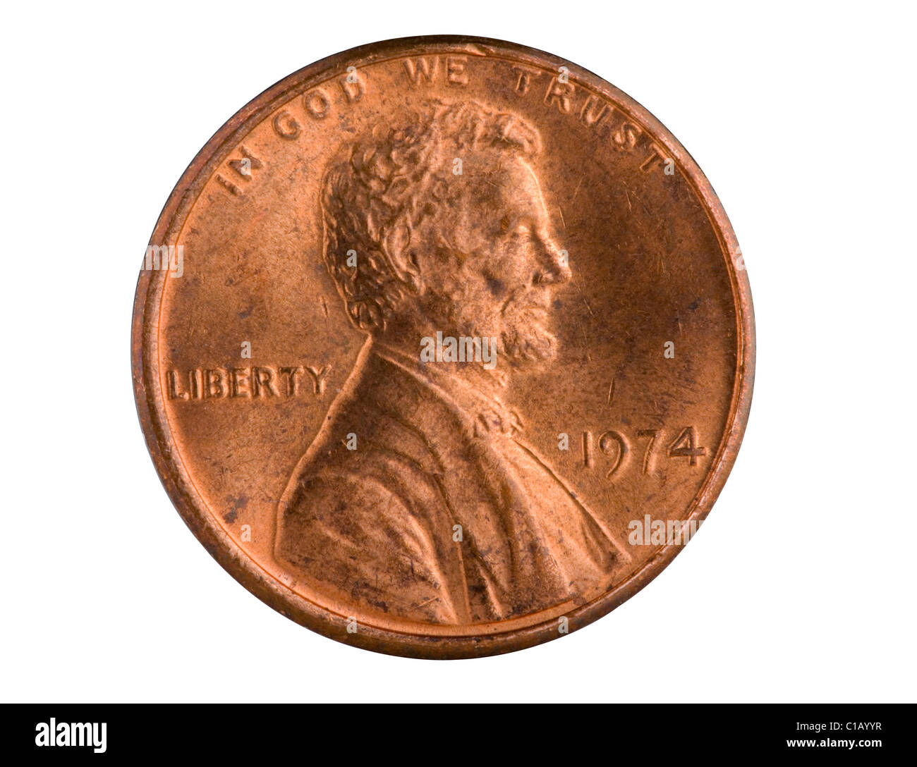 Us 1 Cent Copper Penny From 1974 Pennies Made Prior To 1983 Had A Stock Photo Royalty Free