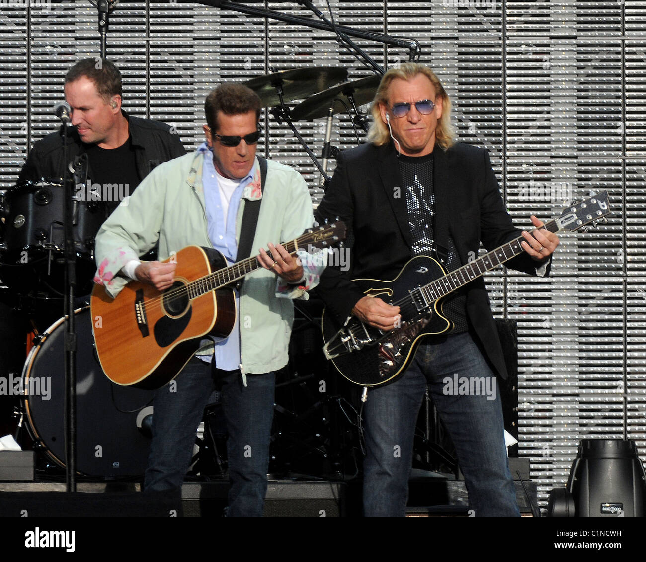 glenn frey joe walsh the eagles performing in concert at the rds stock photo royalty free. Black Bedroom Furniture Sets. Home Design Ideas