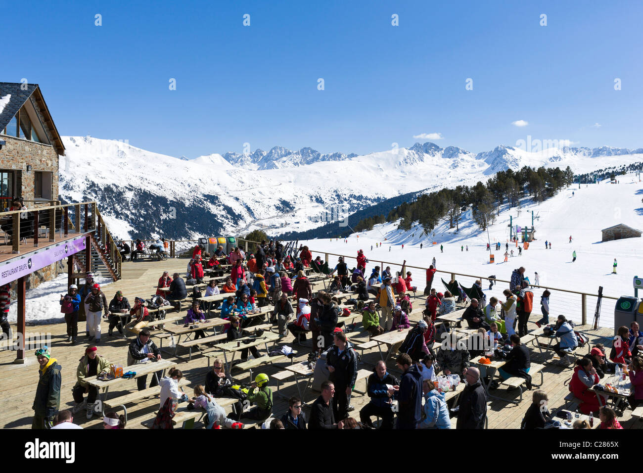 Terrace Of A Mountain Restaurant At The Bottom Of The