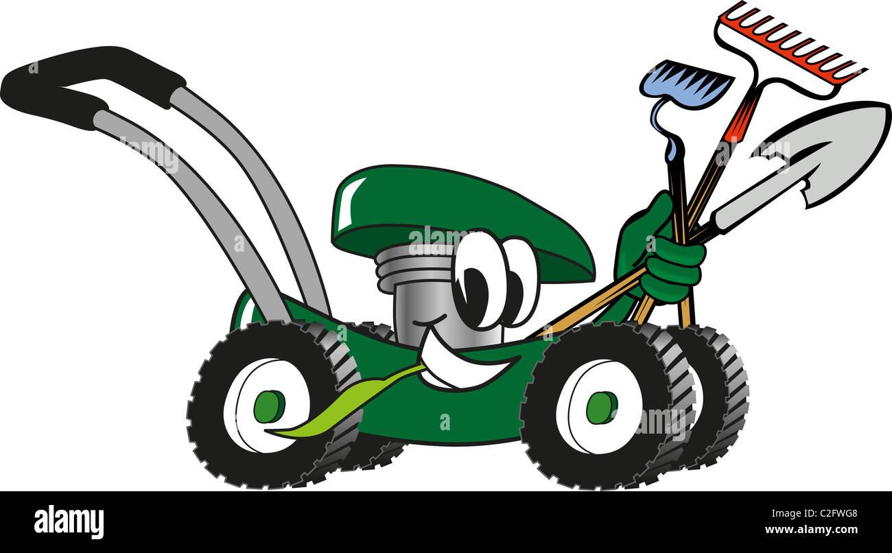Cartoon Lawn Mower Holding Lawn Maintenance Tools Stock