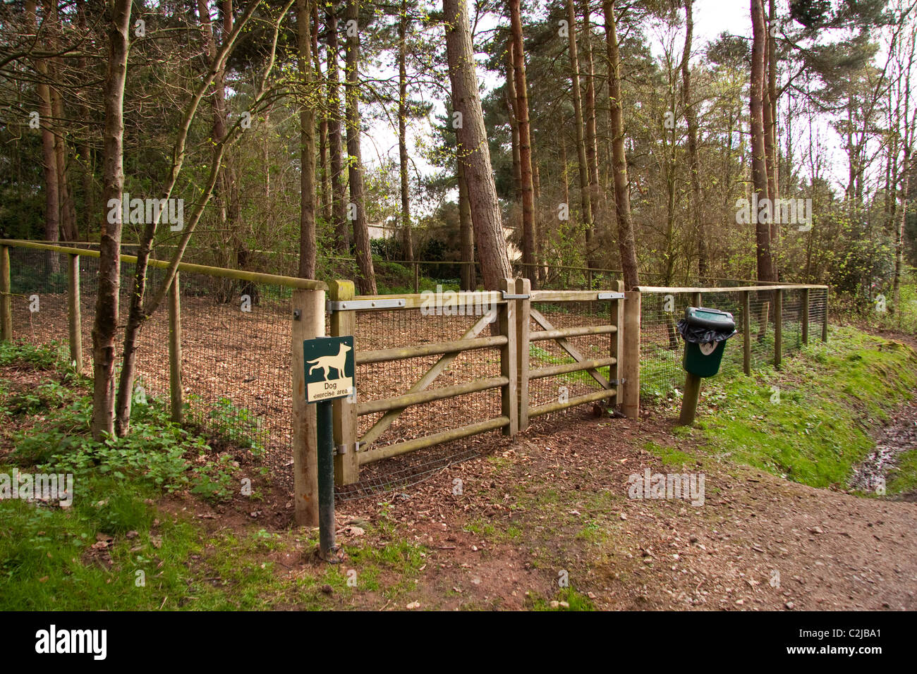 Dog Walking Area Or Toilet At CenterParcs Sherwood Forest Stock Photo Roy