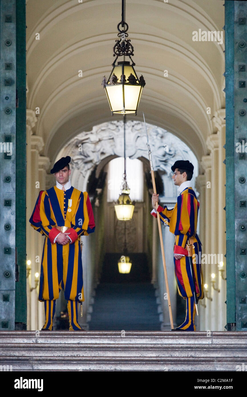 Swiss Guards At The Entrance To St Peter's Basilica