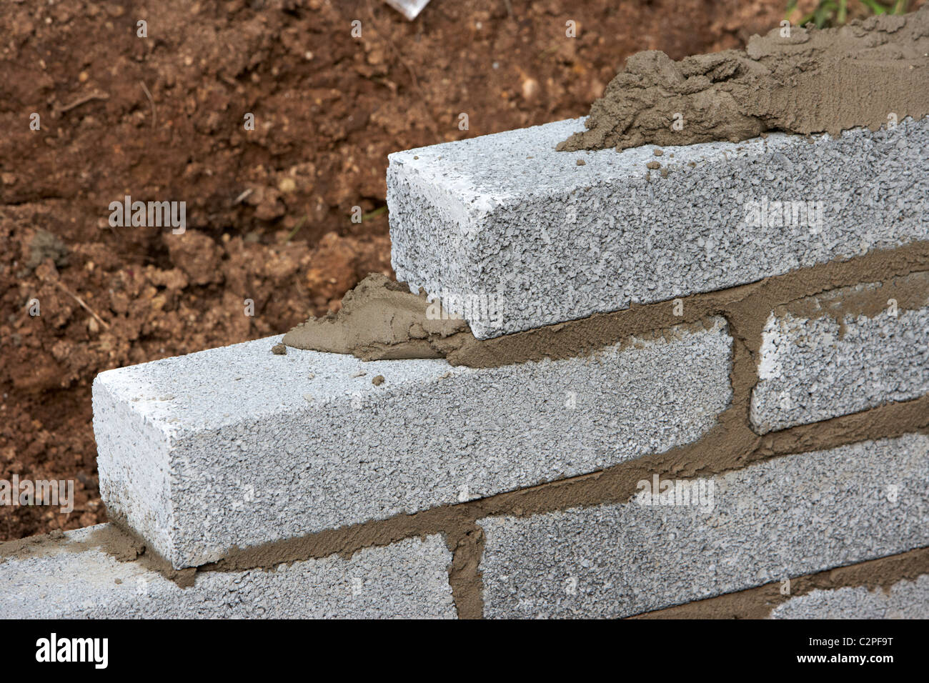 Bricklaying Wall With Half Cement Breeze Blocks Building A