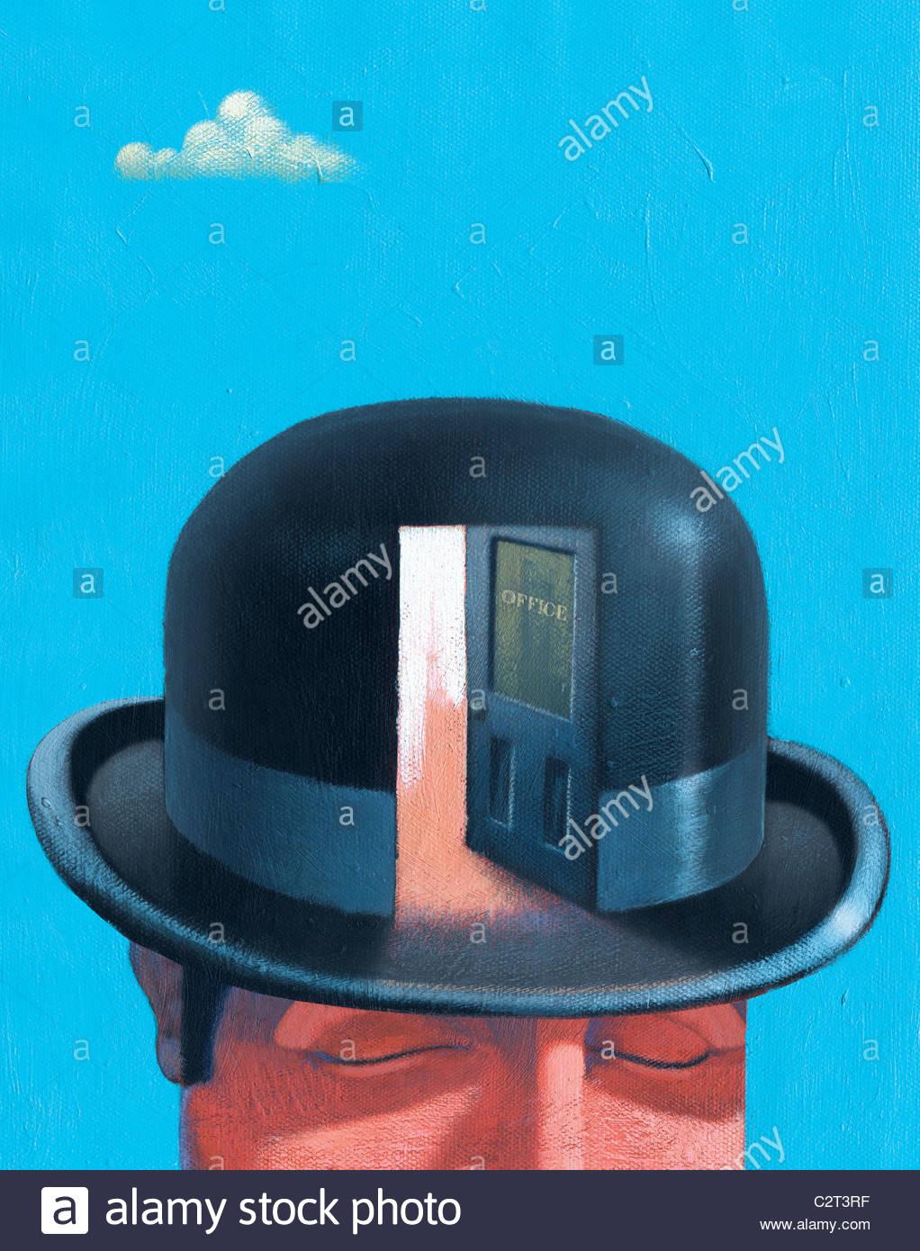 Businessman in bowler hat with open door Stock Foto