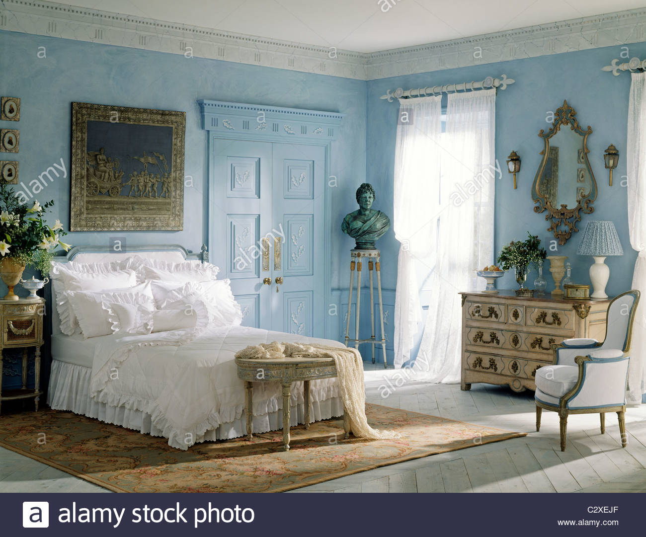 blue white bedroom french style furniture stock photo royalty free image 36232295 alamy. Black Bedroom Furniture Sets. Home Design Ideas