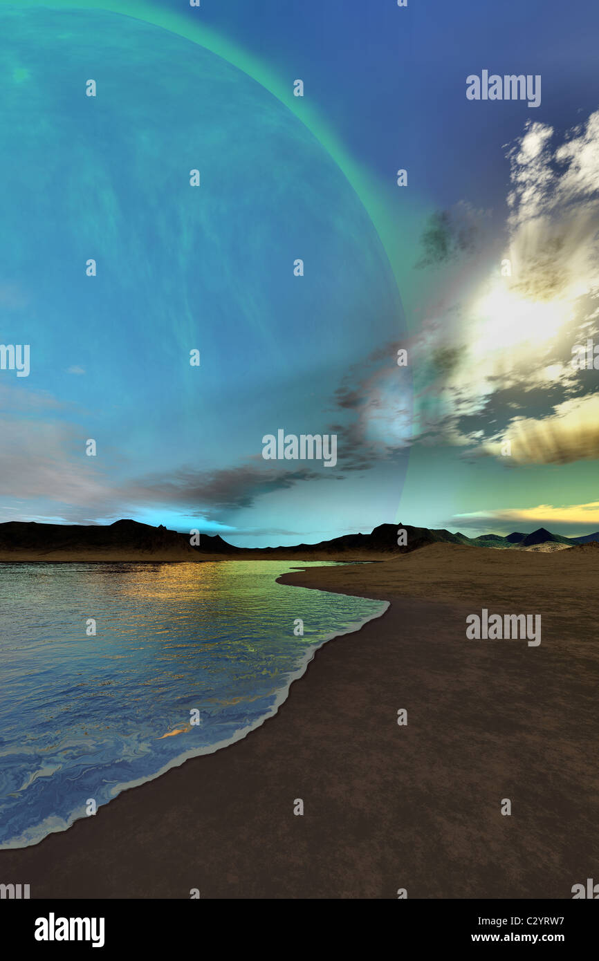 Beautiful skies shine down on this cosmic seascape. Stock Foto