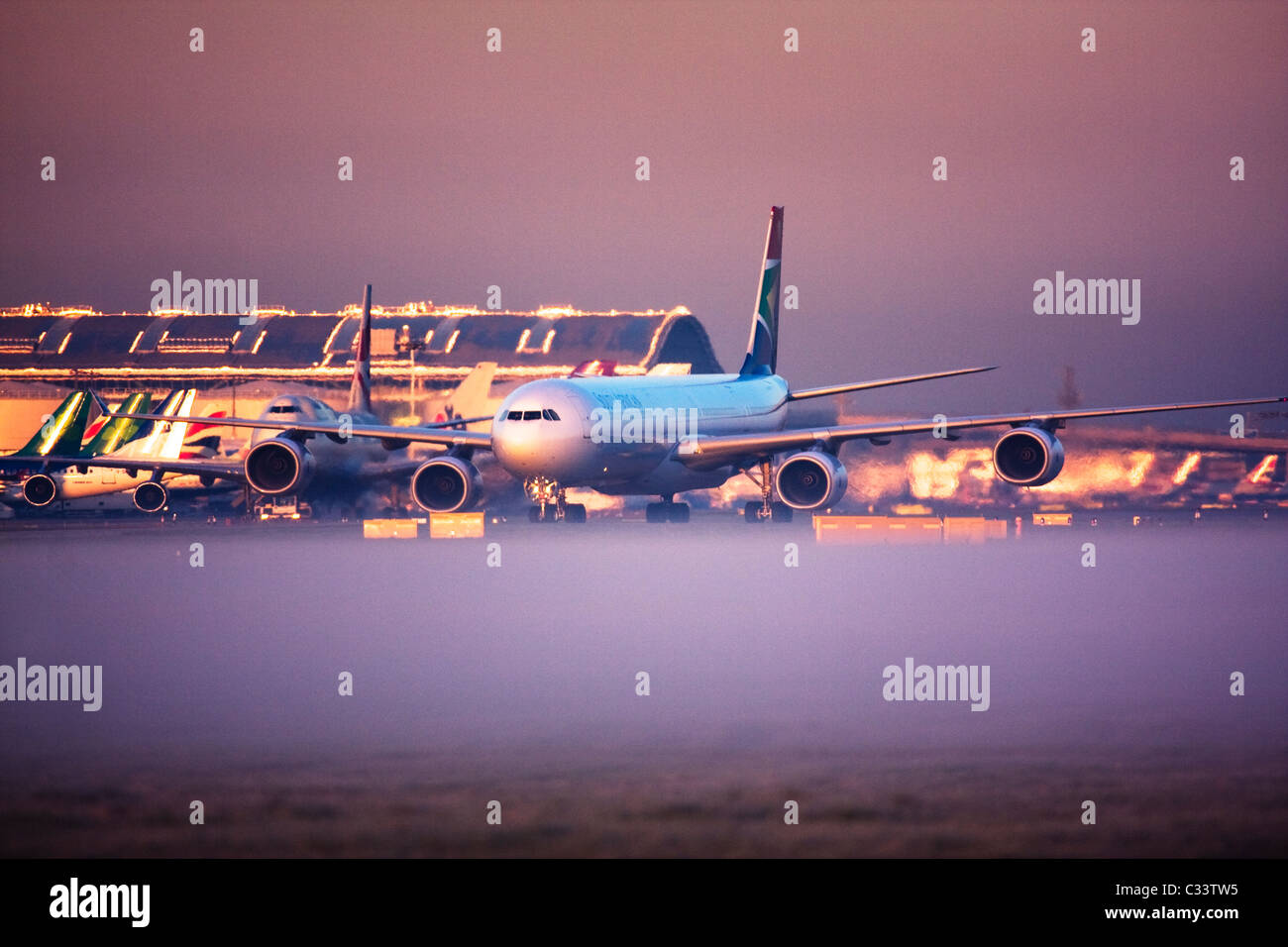 South African Airways Airbus A340-600 at London Heathrow Airport, UK Stock Photo